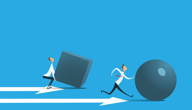 Businessman pushing sphere