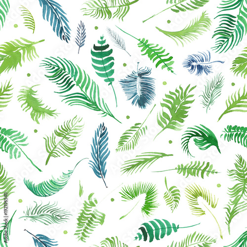 tropical palm leaves jungle leaves seamless floral pattern