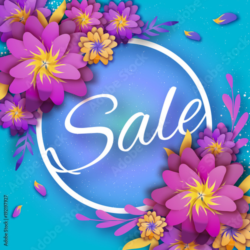Origami pink spring sale flowers banner paper cut floral card origami pink spring sale flowers banner paper cut floral card spring blossom happy mightylinksfo