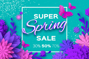 Origami violet Super Spring Sale Flowers. Butterfly. Paper cut Floral card. Spring blossom. Happy Womens Day. 8 March. Text. Seasonal holiday on blue. Spring Sale Poster, Flyer, voucher discount.