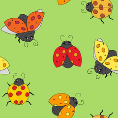 Ladybugs seamless background