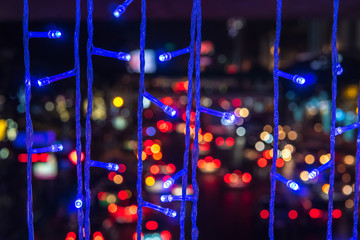 Rope line abstract background with fairy lights.