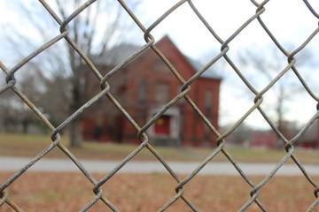 Abandoned brick asylum hospital building