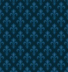 Royal Heraldic Lilies (Fleur-de-lis) — dark blue velvet, seamless pattern, wallpaper background.