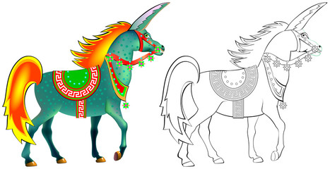 Colorful and black and white pattern for coloring. Illustration of imaginary antique unicorn. Worksheet for children and adults. Vector image.