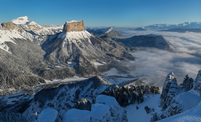 Fotomurales - The famous Mont Aiguille in the Vercors mountains, France.