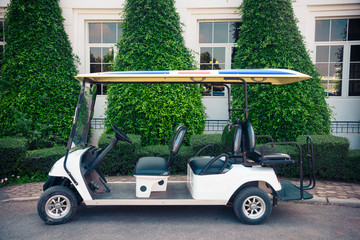 Golf car ready service in the garden