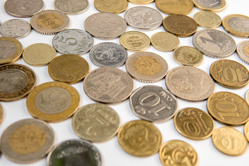 Coins top view. Money from multiple countries