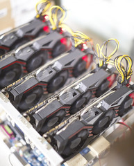 Cryptocurrency mining rig using graphic cards to mine for digital cryptocurrency such as bitcoin, ethereum and other altcoins.