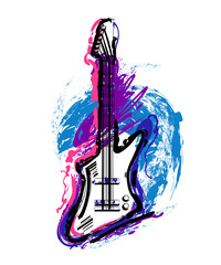Electric guitar. Hand drawn grunge style art. Vintage colorful design. Vector illustration