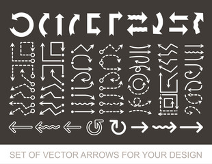 Different black Arrows icons, vector set. Abstract elements for business infographic. Up and down trend. Illustrations for Web Design
