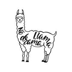 No drama llama. Hand drawn inspiration quote about happiness with lama. Typography design for print, poster, invitation, t-shirt.