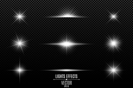 Collection of flashes, lights and sparks. Abstract white lights isolated on a transparent background. Bright white flashes and glares. Bright rays of light. Glowing lines. Vector illustration