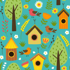 seamless pattern with houses for birds - vector illustration, eps