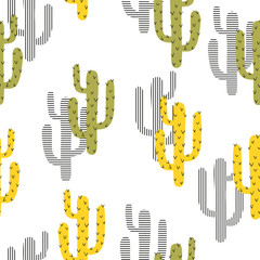 Seamless cartoon cactus pattern. Vector background with abstract green and yellow cactus.