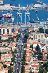 View of Haifa port, cityscape and coast of Haifa, Israel