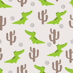 Seamless cute crocodile pattern. Vector background with cartoon alligator and cactus.