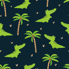 Seamless cartoon crocodiles pattern. Vector background with alligators and palms. Baby print, kids design.