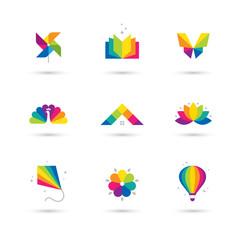 Colorful icons set on white background.