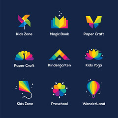 Colorful icons set on dark blue background.