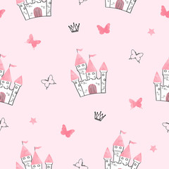 Seamless princess pattern with castle and butterflies.