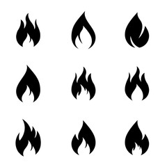 Fire flames, set of graphic design elements, conceptual collection fire and flames icons