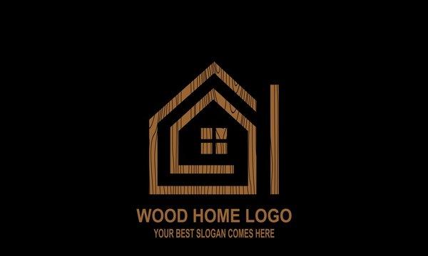 Wooden house logo.