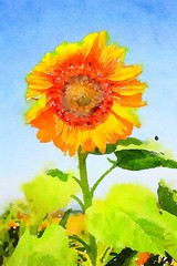 Watercolor of a sunflower in a blue sky