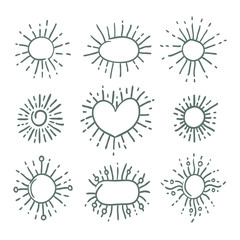 Set of linear drawing of rays of the sun in vintage style. Oval elements, round stickers sunbursts. Graphic illustration for web design