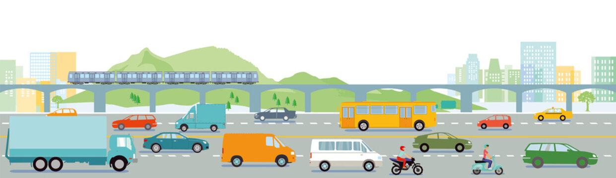 Autobahn mit Großstadt illustration
