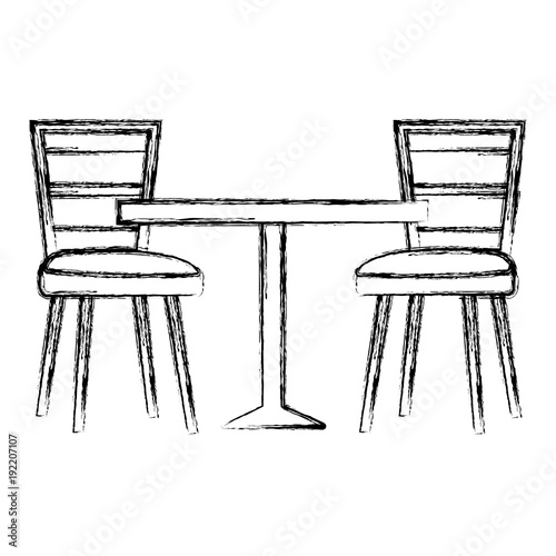 Quot restaurant table and chairs vector illustration design