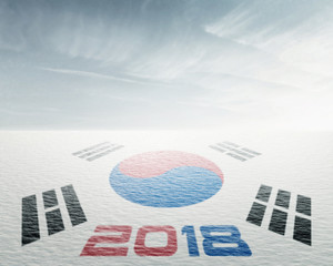 Korean flag with the number 2018 in snow landscape