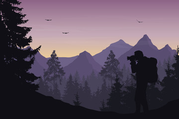 Vector illustration of a mountain landscape with a forest and photographers tourist
