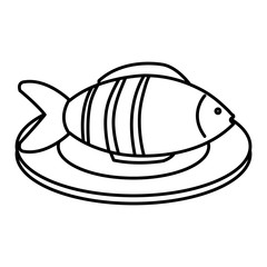 dish with fresh fish isolated icon vector illustration design