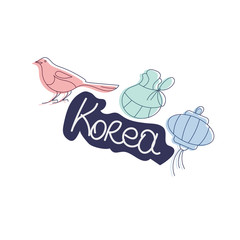 Vector illustration for Korea culture promotion: Korean Lunar New Year Magpie, Korean Paper Lantern and Seollal Fortune Pocket or Lucky bag. Typography text: Korea.