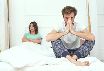Couple broblem. Husband and wife quarrel in the bedroom.