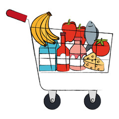 shopping cart with products vector illustration design