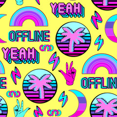 """Vaporwave seamless pattern with patches, stickers, badges, pins with palms, words """"yeah"""", """"offline"""", rainbows, etc. Yellow background."""