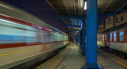 Running train from the platform