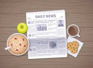 Latest news at breakfast. Daily Newspaper in the morning on a wooden table. Articles, headings. Oat flakes, apple, coffee, chocolate cookies. Vector illustration. Top view.