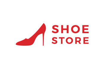 Shoe store label. Red shoe on hill icon. Shop signboard