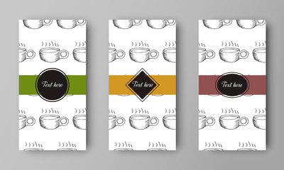 vector design of leaflet cover with print of coffee cup pattern