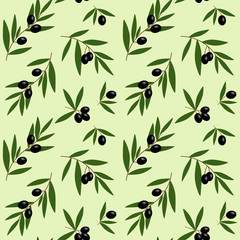 black olives branches with green leaves oil pattern on light green background seamless vector