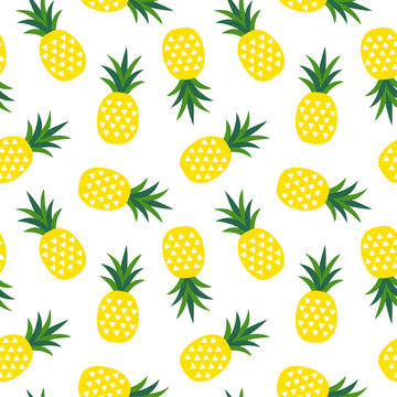 yellow pineapple with triangles geometric fruit summer tropical pattern on a white background seamless vector