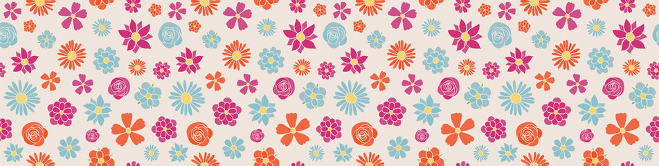 Spring background - panoramic header with hand drawn flowers. Seamless texture. Vector.