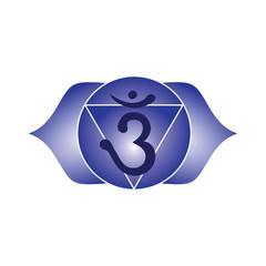 ajna chakra blue icon symbol esoteric yoga indian buddhism hinduism vector