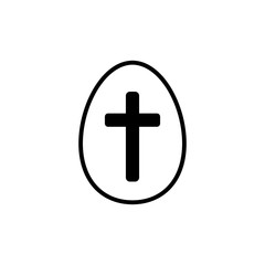 Easter egg with a cross vector icon. Easter concept. Sign, outline symbol, icon for websites, web design, mobile app on white background
