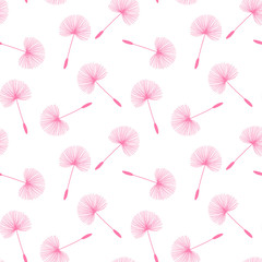 pink dandelions seed floral fluff pattern on a white background seamless vector