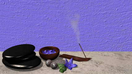 Ein Räucherstäbchen, eine Schale mit Blüten, ein Steinhaufen aus Bimssteinen, Chinesische Qi Gong-Kugeln und eine lila Blüte mit Orangenblatt vor violetten Hintergrund. 3d render