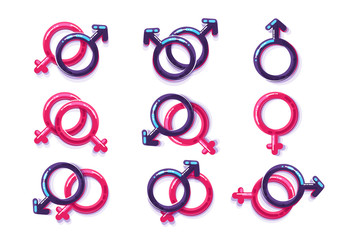 Female and male sex symbol, gender lesbian and gay. One-fingered relations